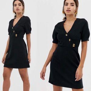 ASOS Design Textured Mini Dress Tortoise Button Detail Black Size 12